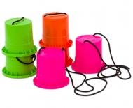 Colourful can stilts - Set pink - orange - green